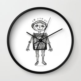 Little robot white and black drawing Wall Clock
