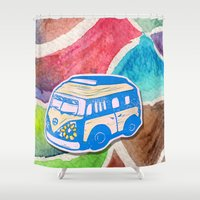 vw bus Shower Curtains featuring VW Bus Campervan by Carrie at Dendryad Art