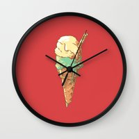 ice cream Wall Clocks featuring Ice Cream by Fightstacy