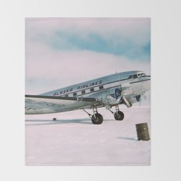Vintage aviation photograph Alaska Airlines airplane air plane classic pilot flight travel photo Throw Blanket