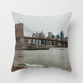 Skyline with Brooklyn Bridge from Pebble Beach   Colourful Travel Photography   New York City, America (USA) Throw Pillow