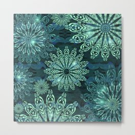 Aqua Green Snowflake Sparkle Metal Print