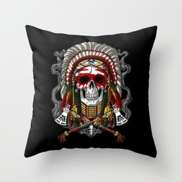 Native American Skull Indian Chief Headdress Throw Pillow