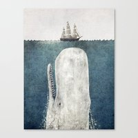 modern family Canvas Prints featuring The Whale - vintage  by Terry Fan