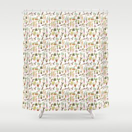 watercolor koala bears hanging out in their cactus succi garden Shower Curtain