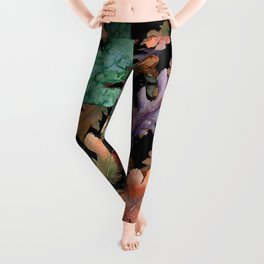 Colorful Woodland Watercolor Oak And Acorn Pattern Leggings