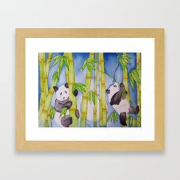 Playful Pandas by Moonlight Framed Art Print
