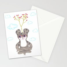 lonely cute creature with rose bush Stationery Cards