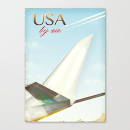 USA By Air vintage travel poster Canvas Print