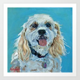 Cute White Dog Portrait Art Print