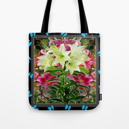 BLUE BUTTERFLIES WHITE LILIES  BLACK FLORAL ART Tote Bag
