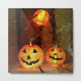 Geometric Pumpkins Lights Metal Print