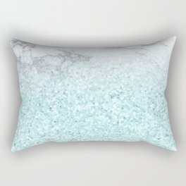 Pretty Turquoise Sparkles on Gray and White Marble Rectangular Pillow
