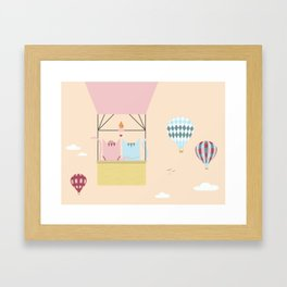 Traveling Tabbies: Hot Air Balloon Framed Art Print