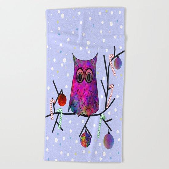 The Festive Owl Beach Towel