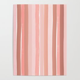 Striped minimal abstract painting modern color pinks metallics decor and art Poster