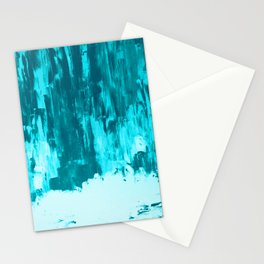 Bright Blue Snow Nights with Icicles Stationery Cards