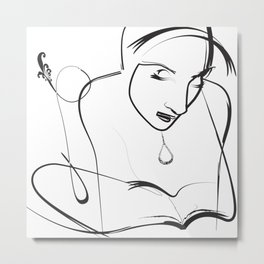 Black and White Drawing Sketch Women Reading a book Metal Print