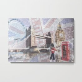 london collage - blue Metal Print