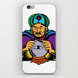 Fortune Teller With Crystal Ball Woodcut iPhone Skin