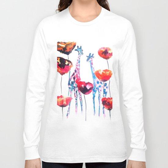 Giraffes and Poppies Long Sleeve T-shirt