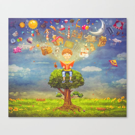 Little boy sitting on the tree and  reading a book, objects flying out Canvas Print