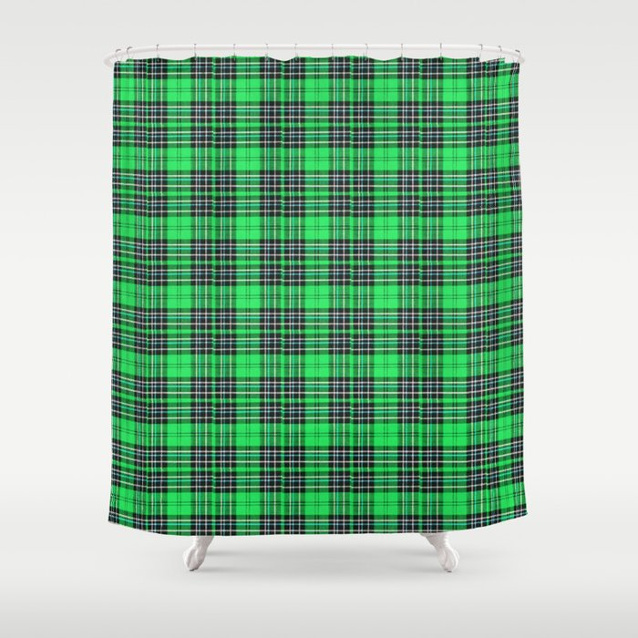 Lunchbox Green Plaid Shower Curtain by nancysmith | Society6