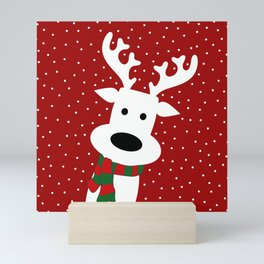 Reindeer in a snowy day (red) Mini Art Print