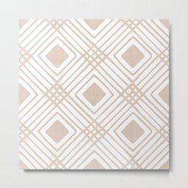 Criss Cross Diamond Pattern in Tan Metal Print
