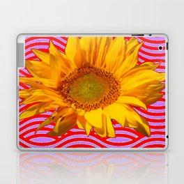 GOLDEN YELLOW SUNFLOWER RED-PURPLE ABSTRACT Laptop & iPad Skin