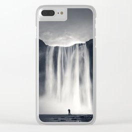 Stormy Skogafoss Clear iPhone Case