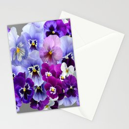 VARIEGATED PURPLE PANSY FLOWERS ART Stationery Cards