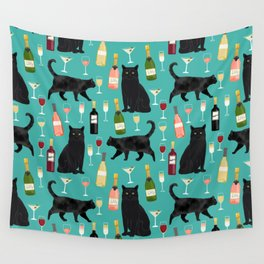 Black cat wine champagne cocktails cat breeds cat lover pattern art print Wall Tapestry