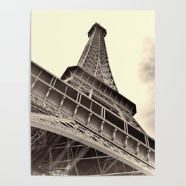The famous Eiffel Tower in Paris, France in sepia. Vintage photography Poster