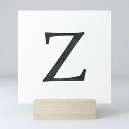 Letter Z Initial Monogram Black and White Mini Art Print