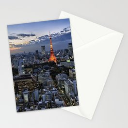 Tokyo Tower Cityscape at Dusk Stationery Cards