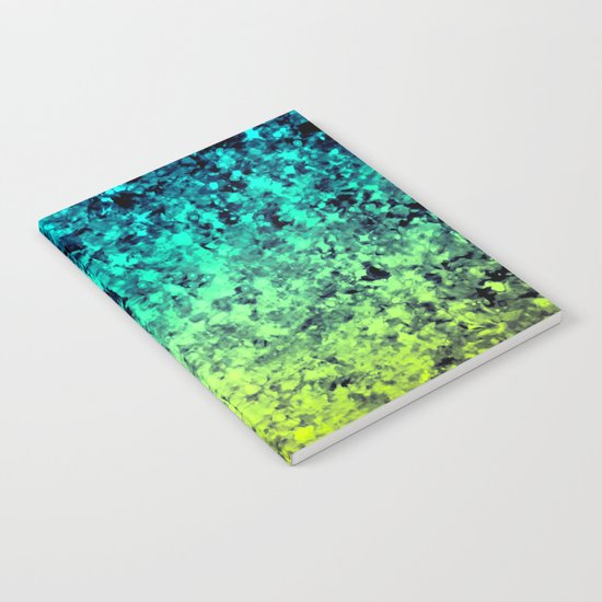 OMBRE LOVE Bold Beautiful Starry Night Glitter Abstract Painting Midnight Blue Mint Turquoise Yellow Notebook