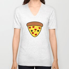 Cute pizza with heart toppings Unisex V-Neck