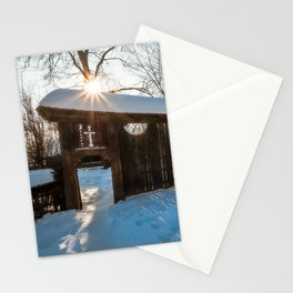 Sun star in a Romanian Village in winter Stationery Cards