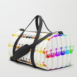 Electric Guitar Rainbow (On White) Duffle Bag