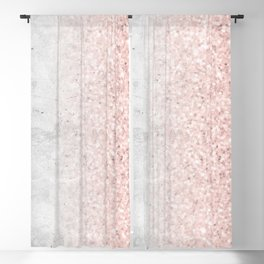 Real Marble and Rose Gold Mermaid Sparkles III Blackout Curtain