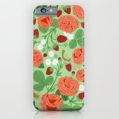 Roses and strawberries on green Slim Case iPhone 6s