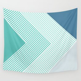 Teal Vibes - Geometric Triangle Stripes Wall Tapestry