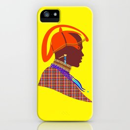 massai warrior african art kenyan man graphic design iPhone Case