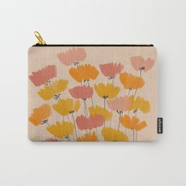 Summertime Flowers On Beige Carry-All Pouch