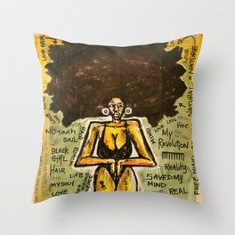 2014 Black Girl Yo Hair Is A Revolution art by Marcellous Lovelace Throw Pillow