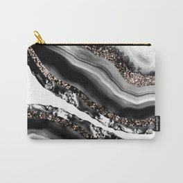 Agate Rose Gold Glitter Glam #3 #gem #decor #art #society6 Carry-All Pouch