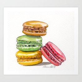 Les Macarons! Art Print