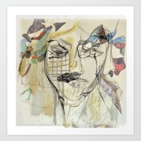 Overlapping Faces Art Print