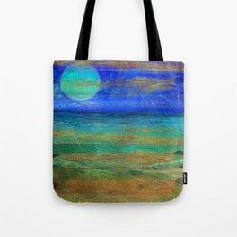 Turquoise Moon Night Tote Bag